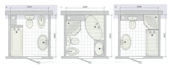 Три варианта перепланировки ванной комнаты