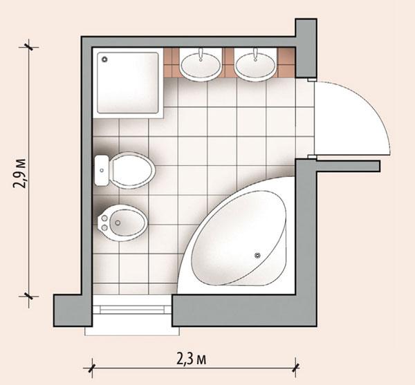Планировка ванной с душевой кабиной