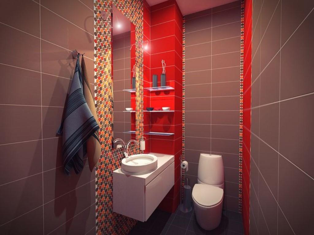 Однотонный кафель прекрасно подойдет для отделки стен, и вместе с тем можно добавить ярких красок выделив небольшую зону