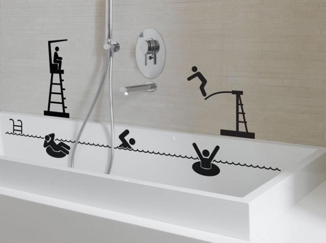 Оригинальное оформление ванны с помощью картинок