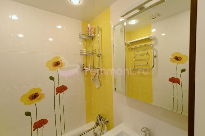 Дизайн ванной в желтом цвете