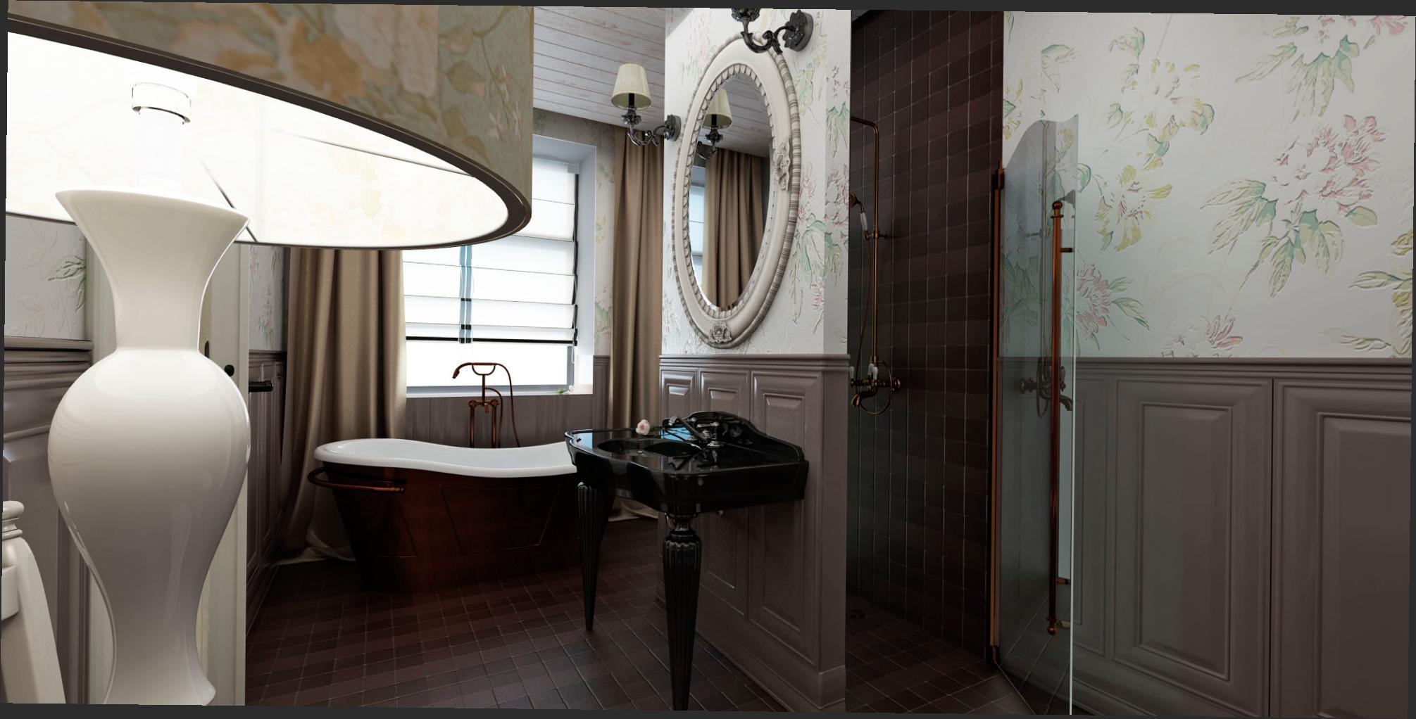 Отдельно стоящая ванна и наличие окна идеальное сочетание в английском стиле