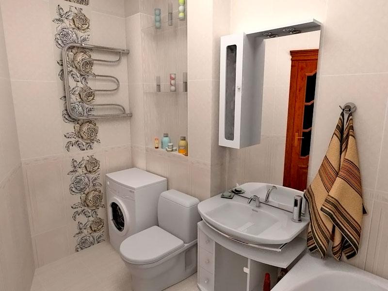 Дизайн маленькой совместной ванны и туалета