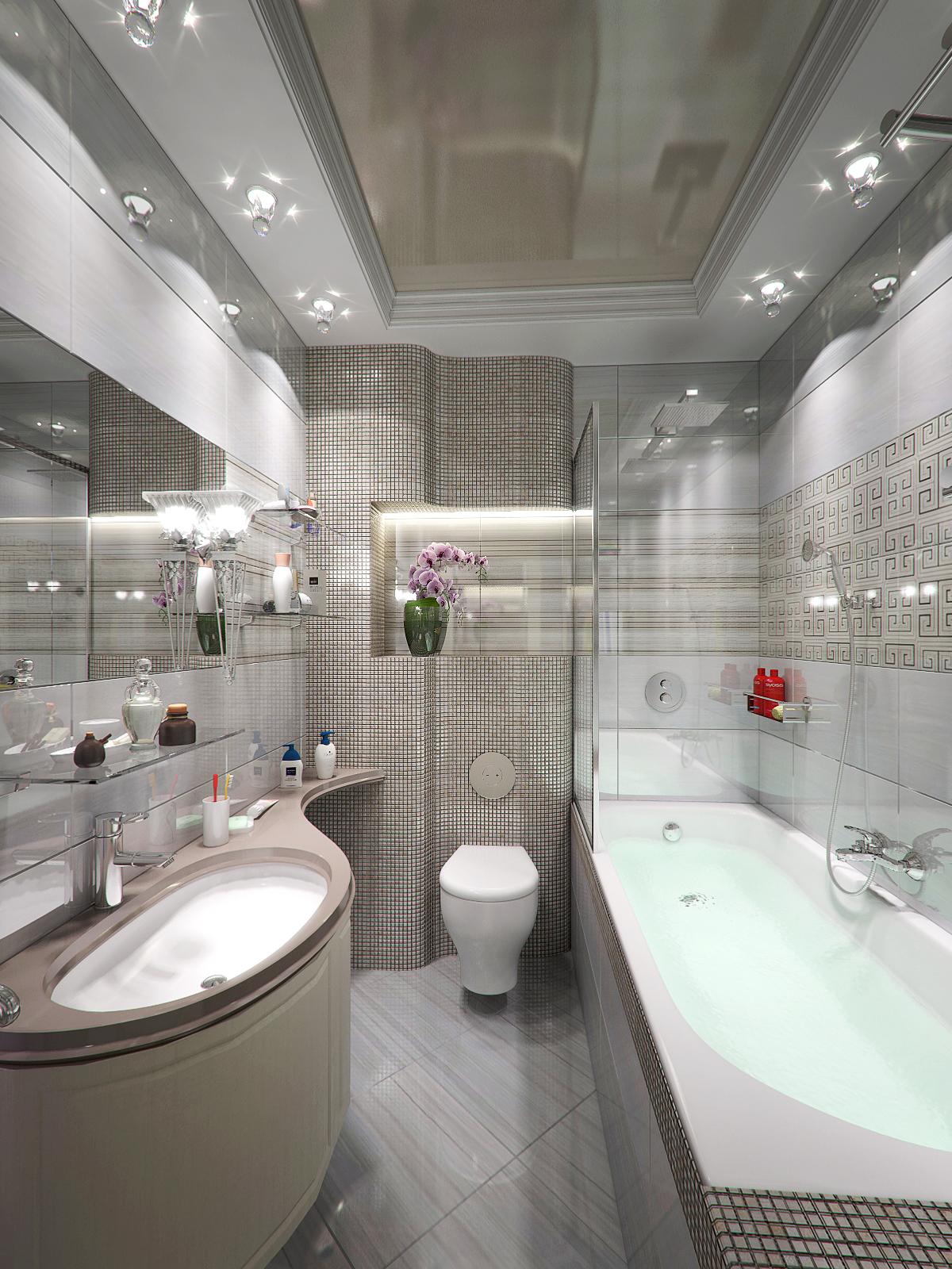 Дизайн потолков в ванную комнату