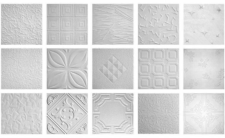 Плитка из пенопласта: геометрические узоры, плавные линии, имитация штукатурки