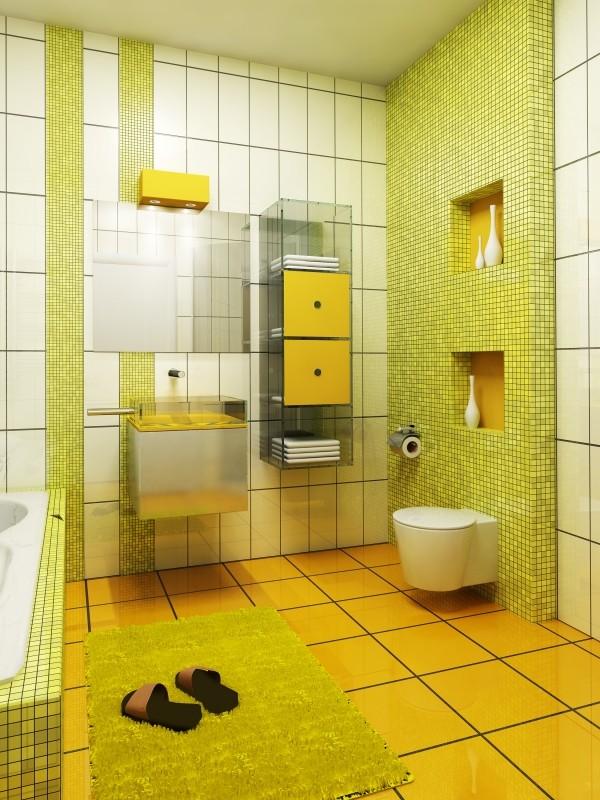 Жёлтая ванная комната дизайн