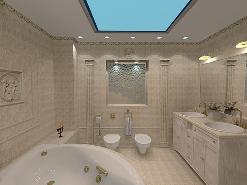 В просторной ванной комнате можно устанавливать разноуровневые натяжные потолки подходящие по стилю