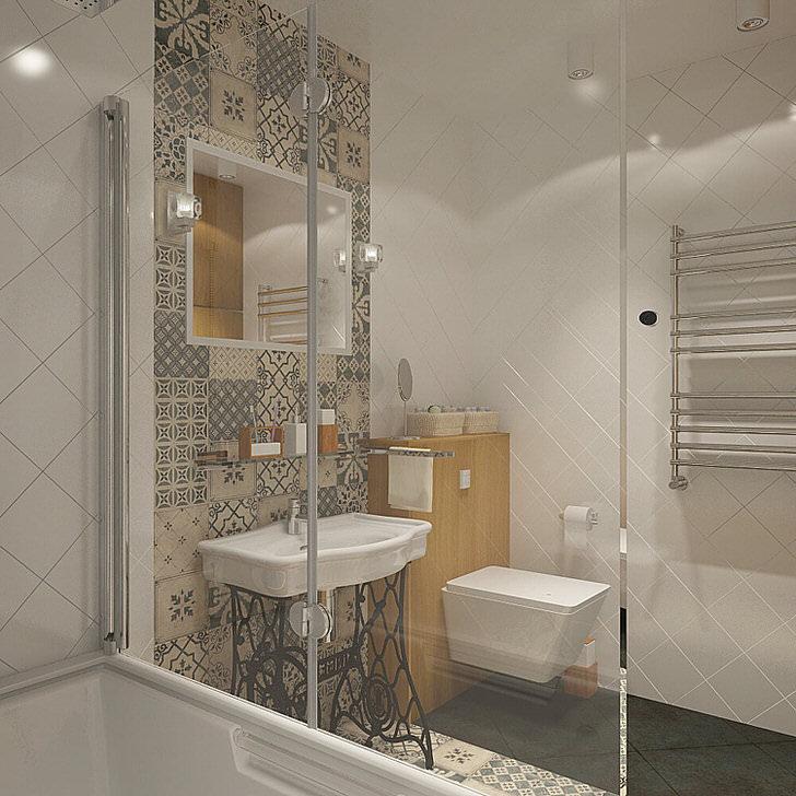 В небольшой ванной лучше использовать диагональную раскладку, за счет нее комната будет казаться больше