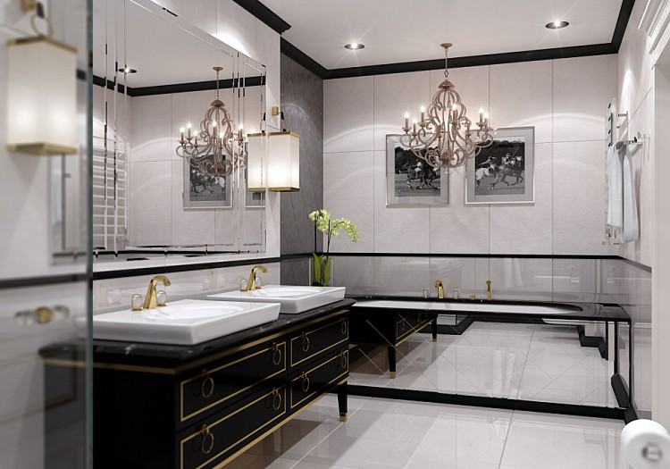 Роскошная люстра и отделка цвета благородных металлов - все это подчеркнет стиль и убранство комнаты