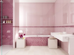 Для утонченных натур, любящих покой и романтику, розовые оттенки в ванной - идеальное решение