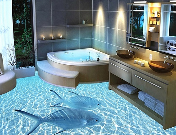 Достоинством наливного пола в ванной является его эксклюзивность