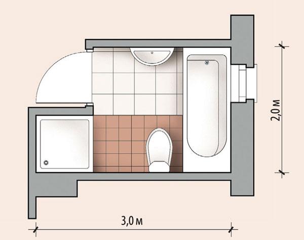 Проект перепланировки небольшой ванной