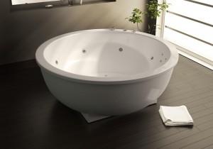 Сантехника круглой формы придает шикарный вид ванной комнате
