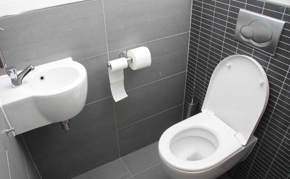 Небольшой туалет можно оформить довольно современно и стильно