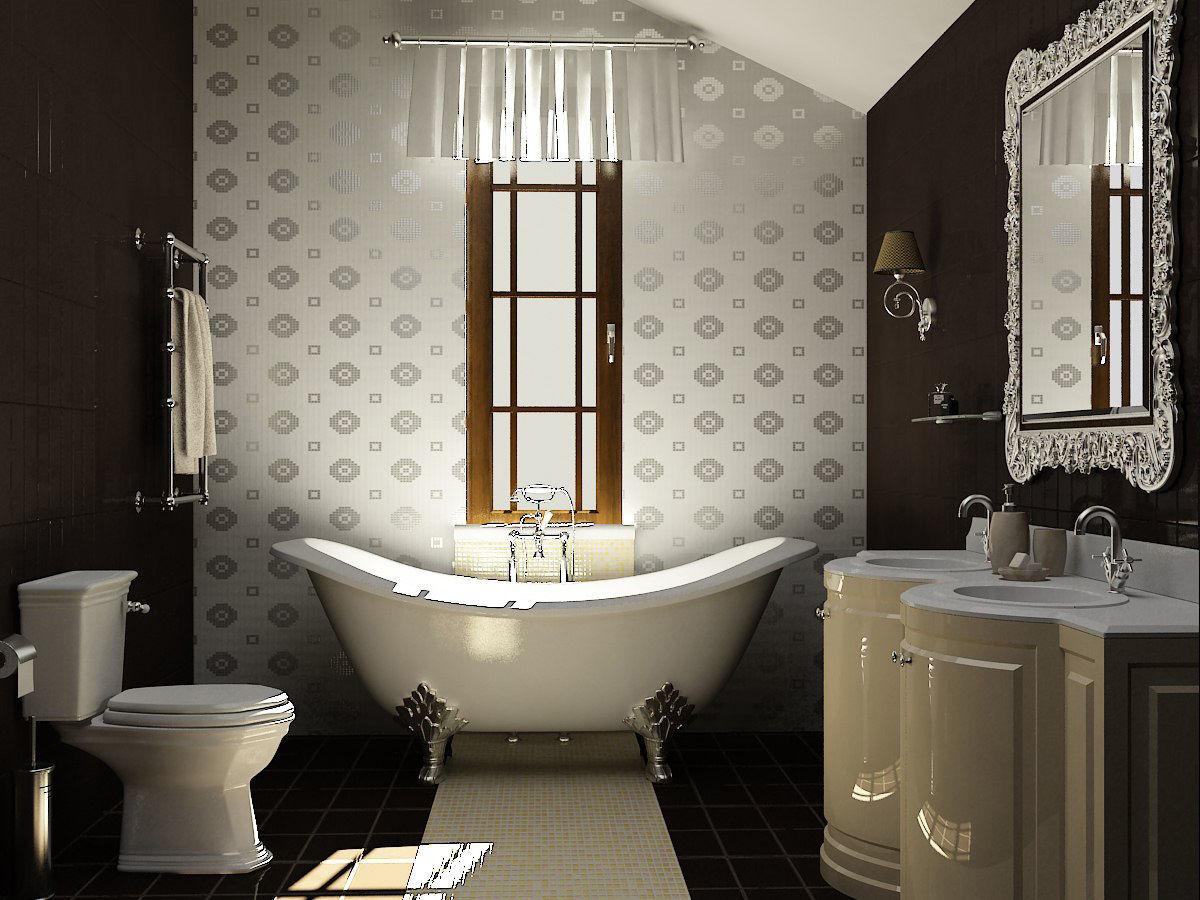 Сантехника и мебель должны быть подобраны в одном стиле, дополняя интерьер комнаты