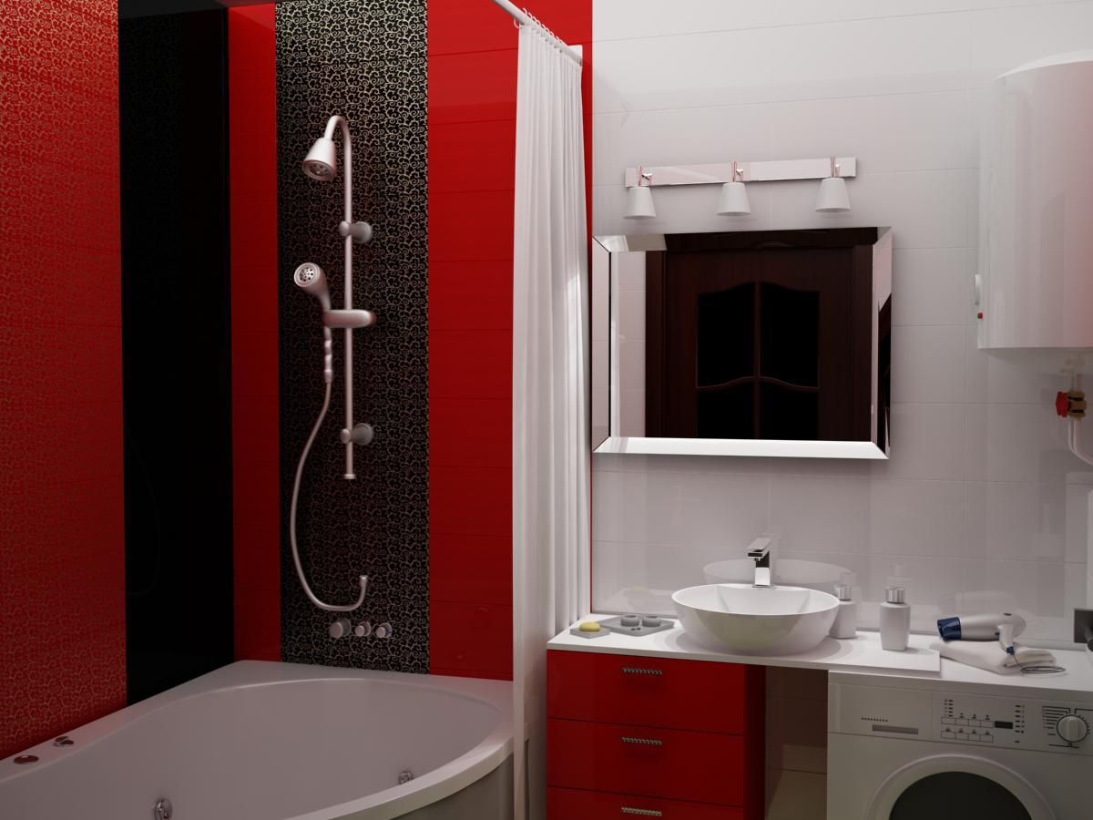 Черно красная ванная дизайн