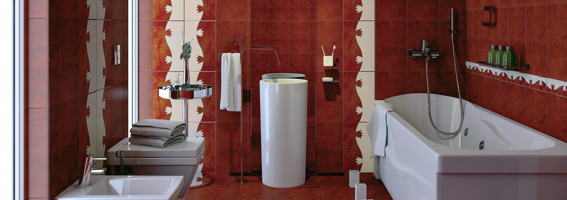 Бордовая ванная комната 22 фото