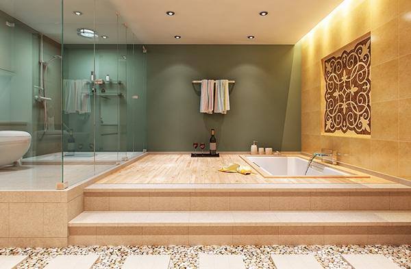 При оформлении большой ванной можно воплотить в реальность любые задумки, а также сочетать несколько видов материалов