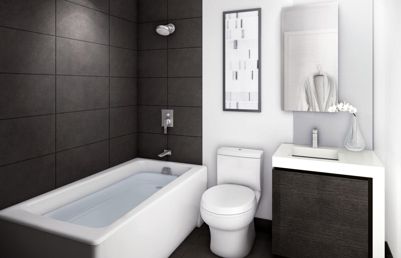 Вариант отделки небольшой ванной в стиле модерн