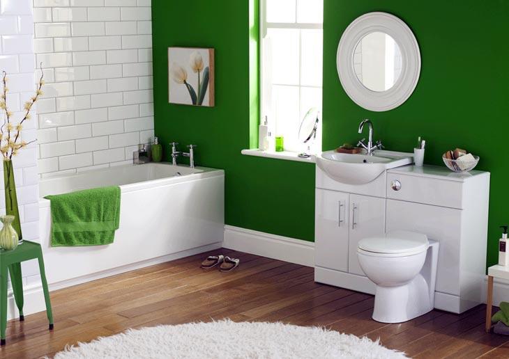 Яркая зелень станет прекрасным акцентом в сочетании с белоснежным белым
