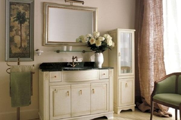 """Пример использования мебели в ванной комнате в стиле """"ретро"""""""