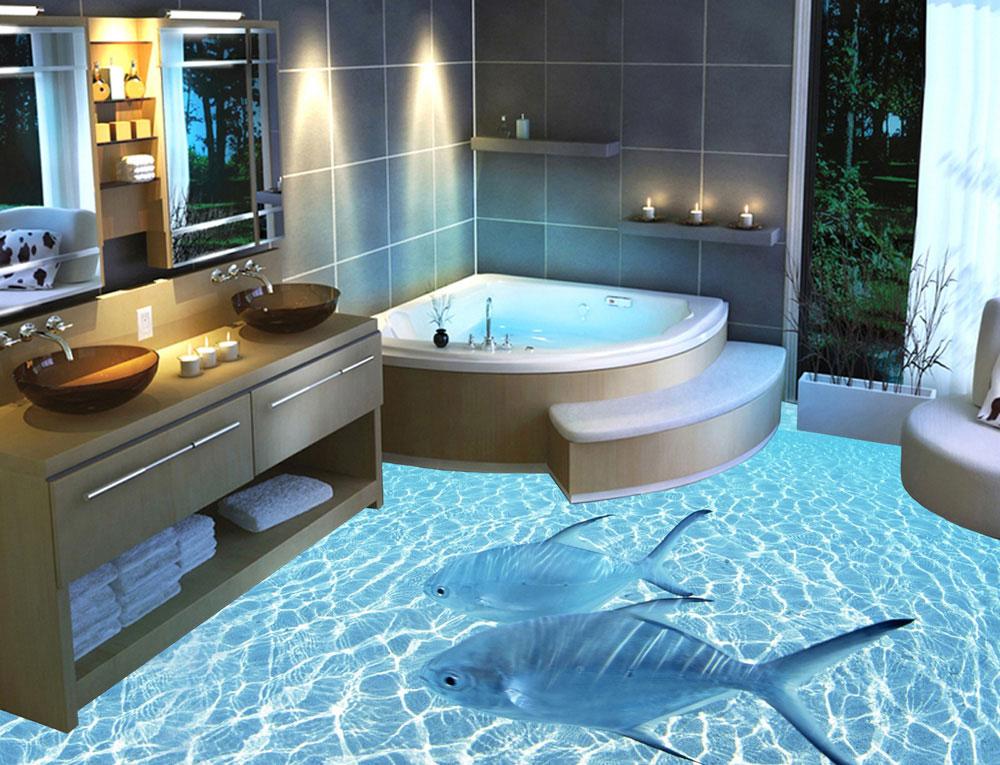 Морская тематика в 3Д для ванной