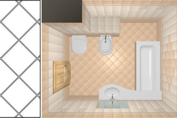 Укладка кафеля по диагонали зрительно увеличит пространство небольшой ванной