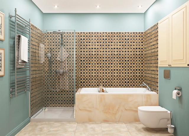 Для просторной комнаты идеальным решением будет установить душевую и ванную
