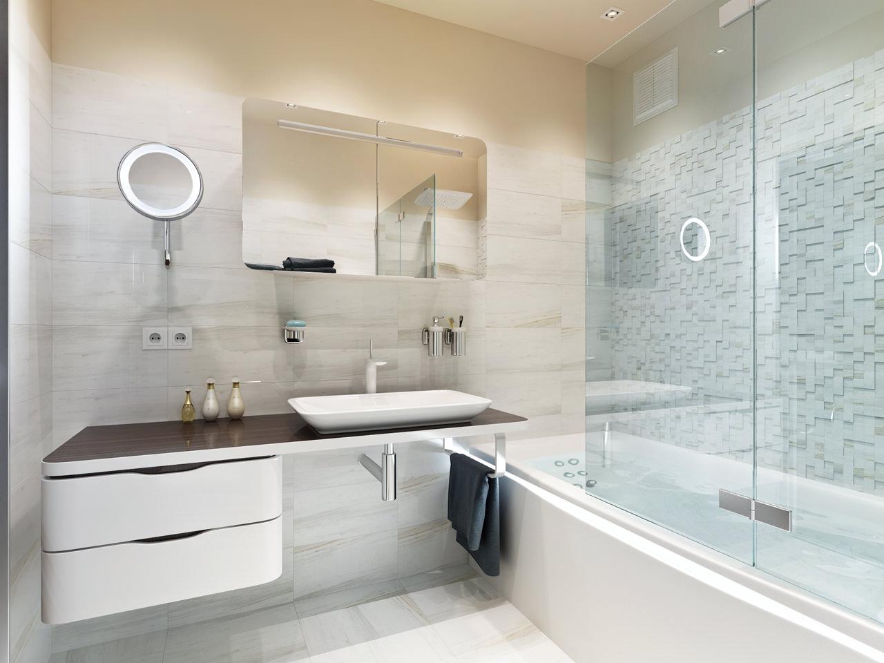 Стиль минимализм прекрасно подойдет для небольшой ванной