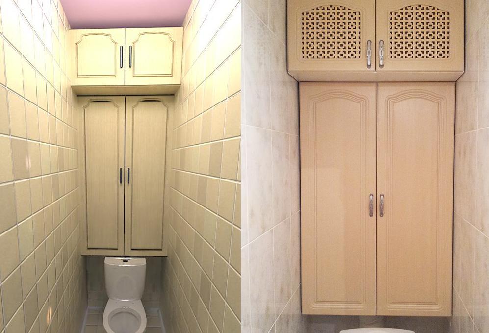 Дизайн туалета со встроенным шкафом