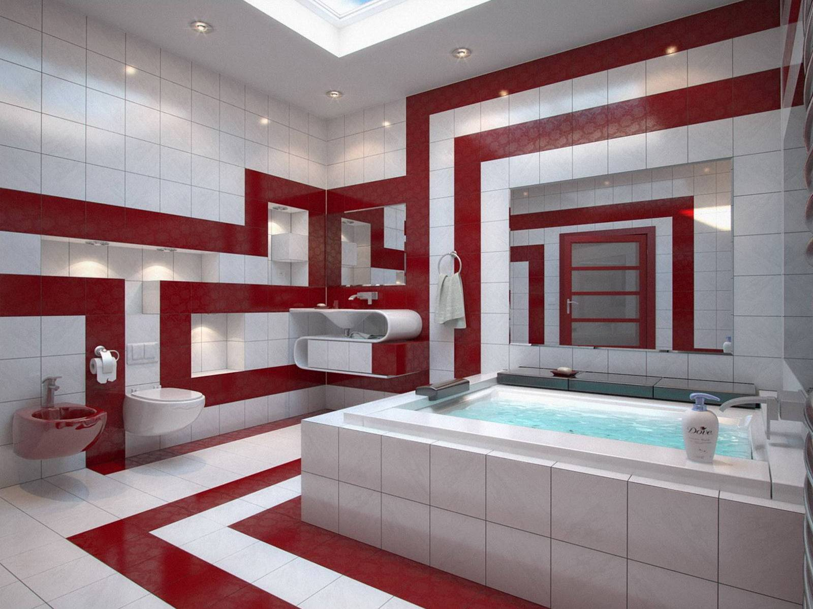 Особенно эффектно будет сочетание бордо и белого в просторной ванной