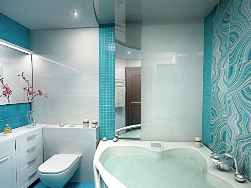 Фото ремонта ванны в голубых тонах