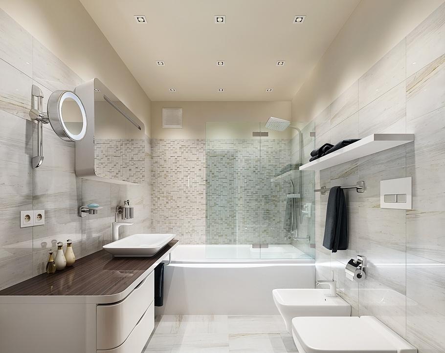 Навесная мебель и встроенная техника позволит увеличить пространство