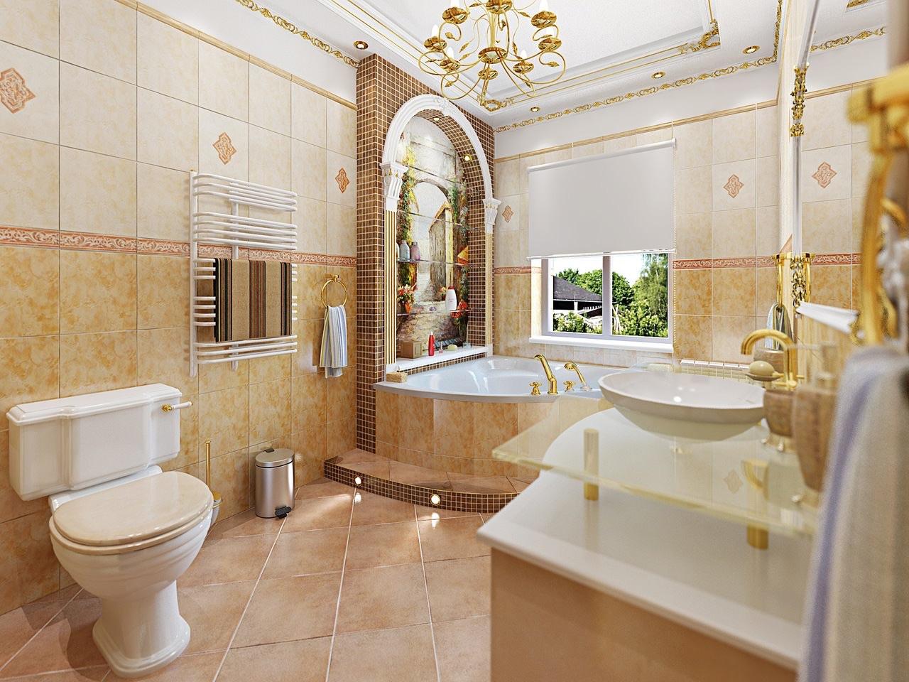 Дизайн в итальянском стиле ванной комнаты