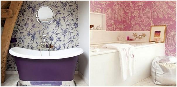 Использование обоев в декоре ванной комнаты