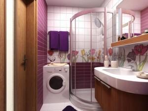 Пример обустройства душевой кабины в небольшой ванной