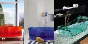 Стеклянная ванна должна быть центром внимания в интерьере комнаты