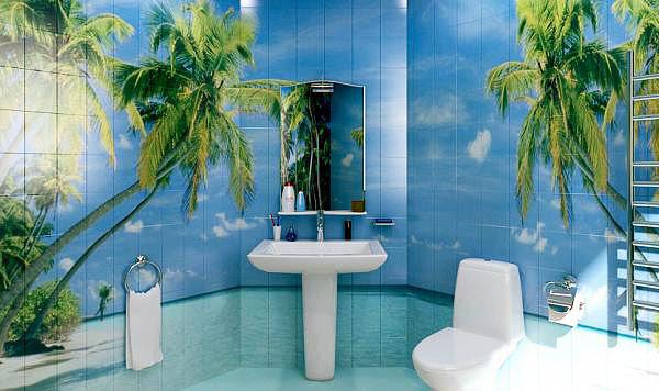 Варианты фотоплитки для ванной