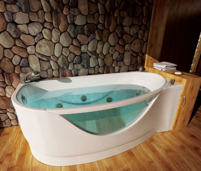 Акриловая ванна может иметь разные размеры и конфигурацию, бесспорный плюс при создании оригинального интерьера комнаты