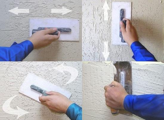 На стенах можно создавать разные фактуры меняя направление движения терки