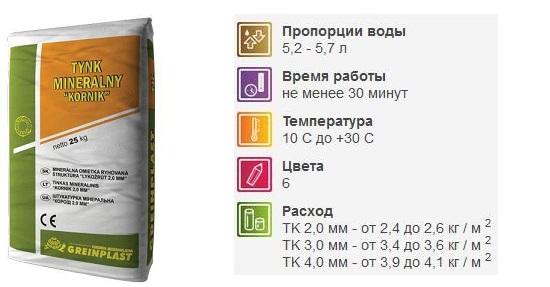 Обычно необходимые цифры имеются на оборотной стороне упаковки со смесью для декоративной штукатурки короед