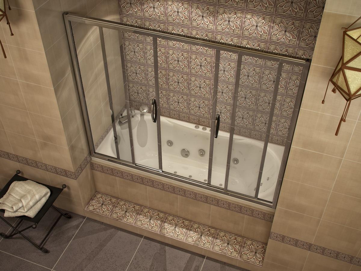 Украсить интерьер ванной можно раздвижной шторкой