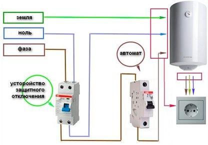 Электрическая схема подключения питания и заземления